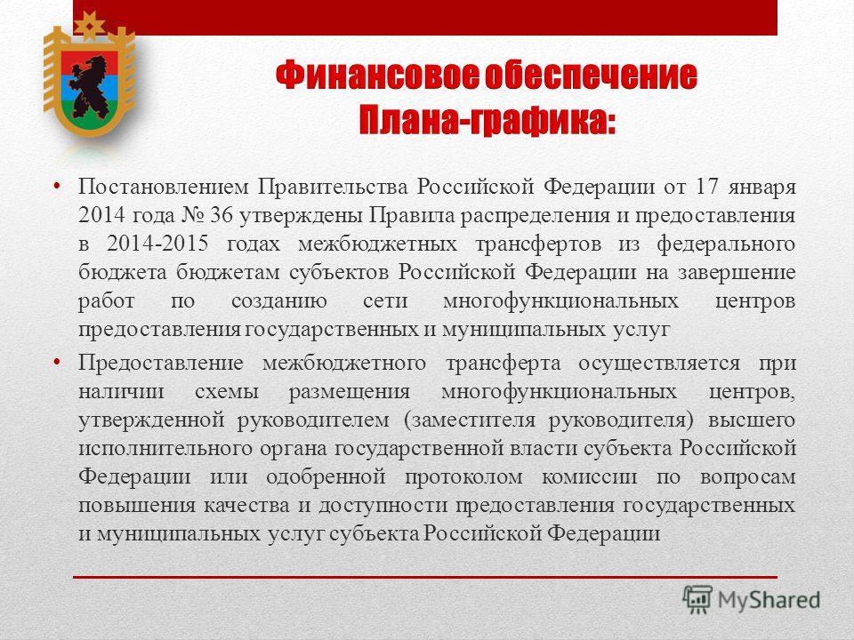Постановлением Правительства Российской Федерации от 17 января 2014 года 36 утверждены Правила распределения и предоставления в 2014-2015 годах межбюджетных трансфертов из федерального бюджета бюджетам субъектов Российской Федерации на завершение раб