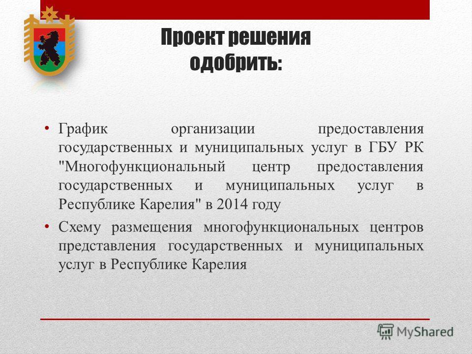 Проект решения одобрить: График организации предоставления государственных и муниципальных услуг в ГБУ РК