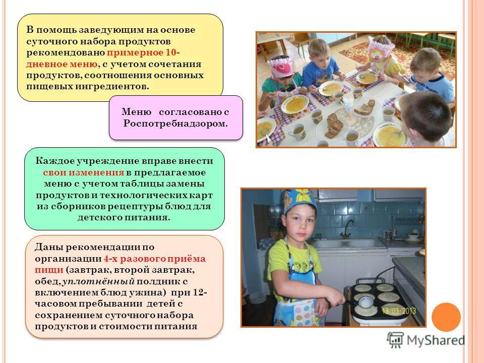 В помощь заведующим на основе суточного набора продуктов рекомендовано примерное 10- дневное меню, с учетом сочетания продуктов, соотношения основных пищевых ингредиентов. Меню согласовано с Роспотребнадзором. Каждое учреждение вправе внести свои изм