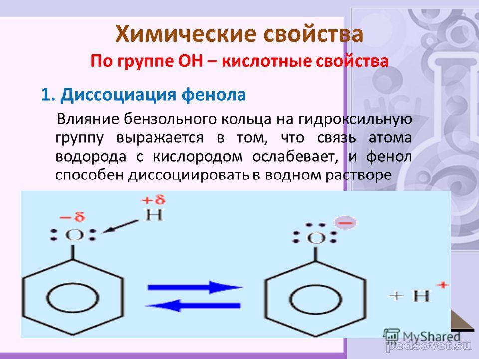 Химические свойства По группе ОН – кислотные свойства 1. Диссоциация фенола Влияние бензольного кольца на гидроксильную группу выражается в том, что связь атома водорода с кислородом ослабевает, и фенол способен диссоциировать в водном растворе