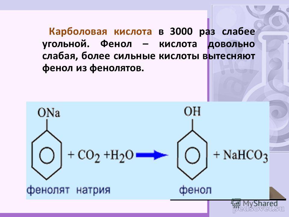 Карболовая кислота в 3000 раз слабее угольной. Фенол – кислота довольно слабая, более сильные кислоты вытесняют фенол из фенолятов.