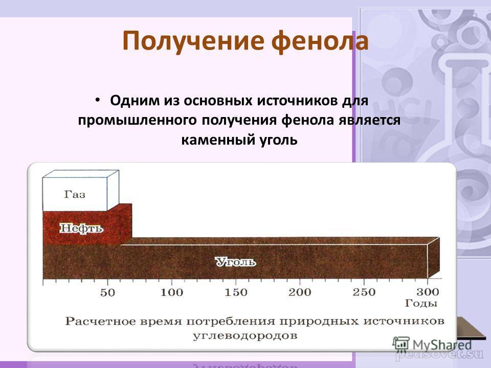 Получение фенола Одним из основных источников для промышленного получения фенола является каменный уголь