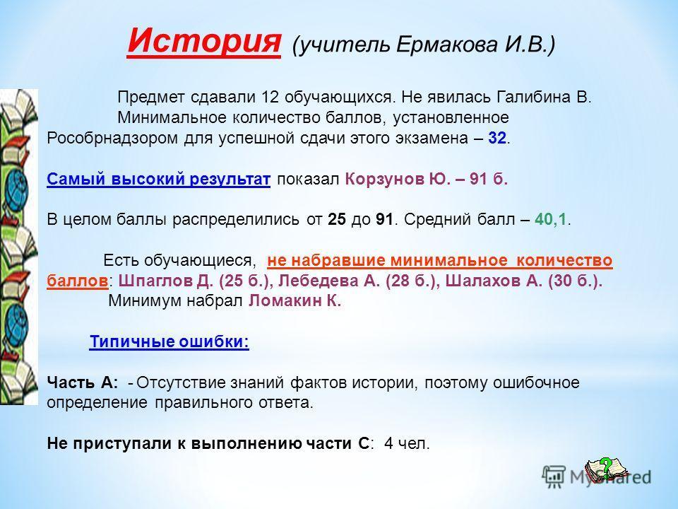 История (учитель Ермакова И.В.) Предмет сдавали 12 обучающихся. Не явилась Галибина В. Минимальное количество баллов, установленное Рособрнадзором для успешной сдачи этого экзамена – 32. Самый высокий результат показал Корзунов Ю. – 91 б. В целом бал