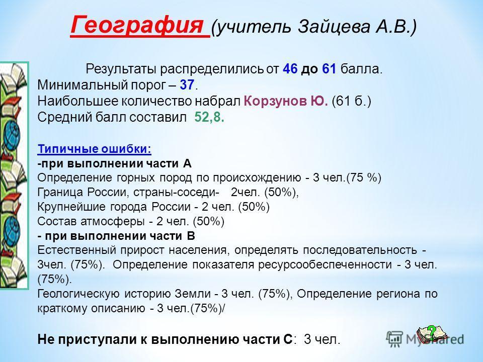 География (учитель Зайцева А.В.) Результаты распределились от 46 до 61 балла. Минимальный порог – 37. Наибольшее количество набрал Корзунов Ю. (61 б.) Средний балл составил 52,8. Типичные ошибки: -при выполнении части А Определение горных пород по пр