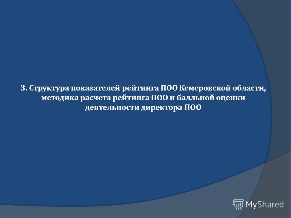 3. Структура показателей рейтинга ПОО Кемеровской области, методика расчета рейтинга ПОО и балльной оценки деятельности директора ПОО