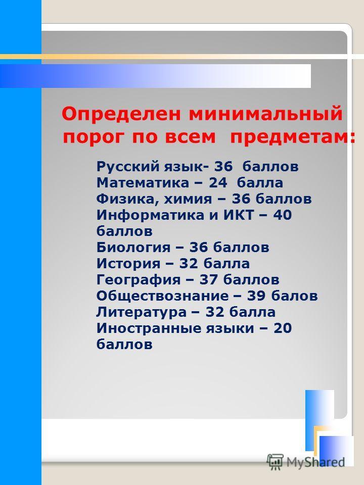 Определен минимальный порог по всем предметам: Русский язык- 36 баллов Математика – 24 балла Физика, химия – 36 баллов Информатика и ИКТ – 40 баллов Биология – 36 баллов История – 32 балла География – 37 баллов Обществознание – 39 балов Литература –