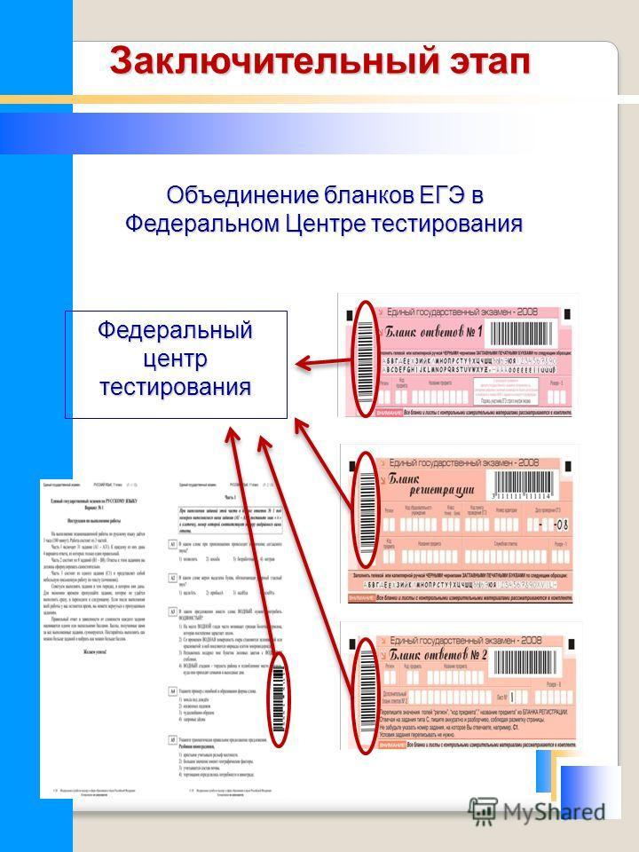 Объединение бланков ЕГЭ в Федеральном Центре тестирования Федеральный центр тестирования Заключительный этап