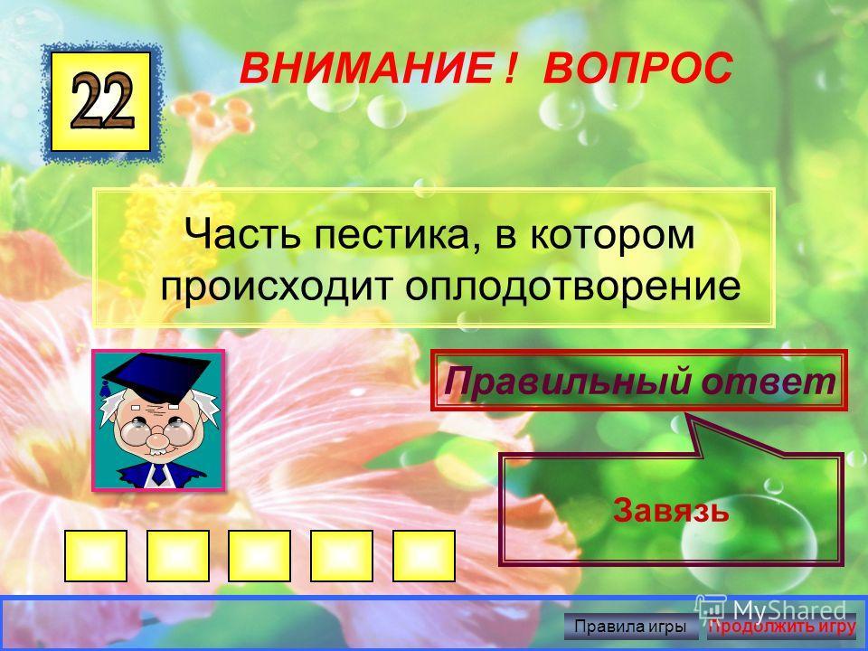 ВНИМАНИЕ ! ВОПРОС Все лепестки цветка Правильный ответ Венчик Правила игрыПродолжить игру
