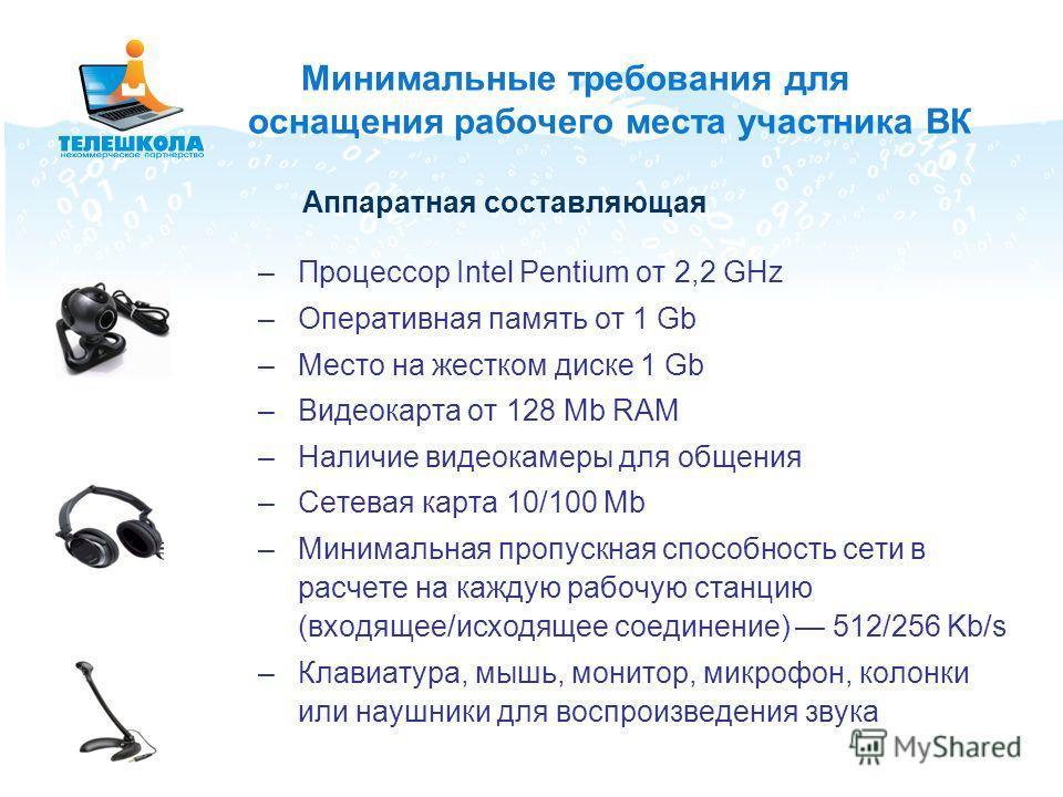 Минимальные требования для оснащения рабочего места участника ВК –Процессор Intel Pentium от 2,2 GHz –Оперативная память от 1 Gb –Место на жестком диске 1 Gb –Видеокарта от 128 Mb RAM –Наличие видеокамеры для общения –Сетевая карта 10/100 Mb –Минимал