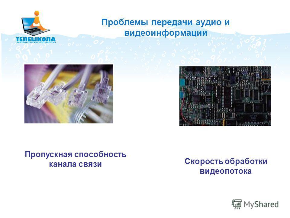 Проблемы передачи аудио и видеоинформации Пропускная способность канала связи Скорость обработки видеопотока