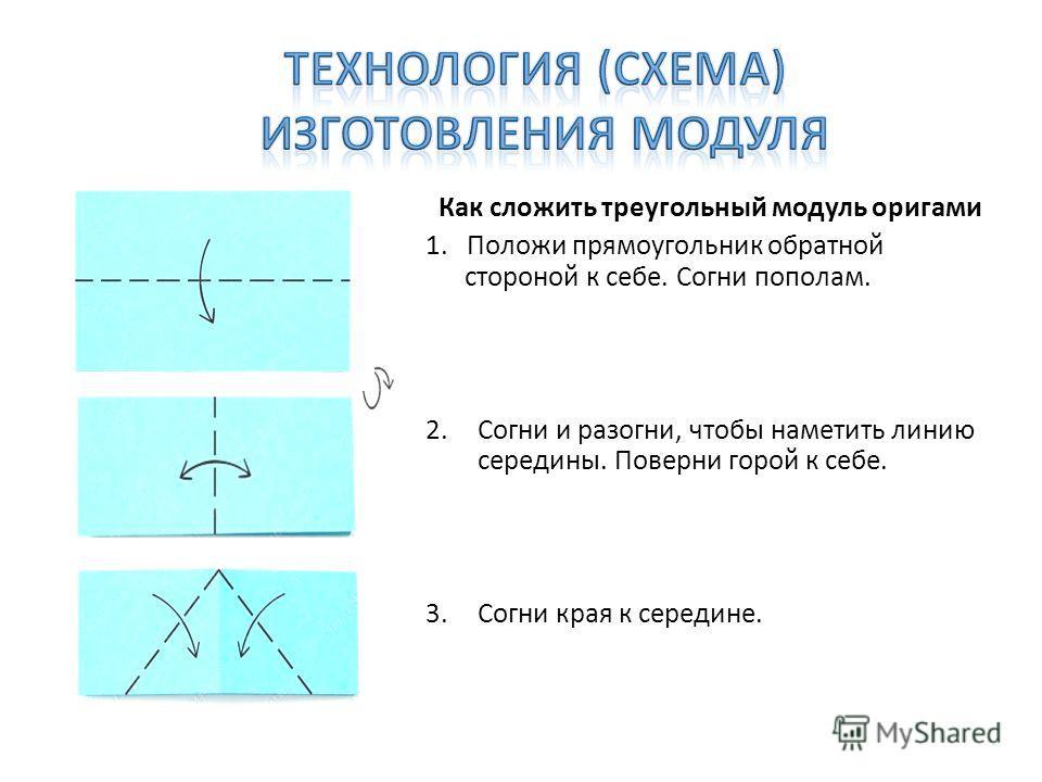 Как сложить треугольный модуль оригами 1. Положи прямоугольник обратной стороной к себе. Согни пополам. 2.Согни и разогни, чтобы наметить линию середины. Поверни горой к себе. 3.Согни края к середине.