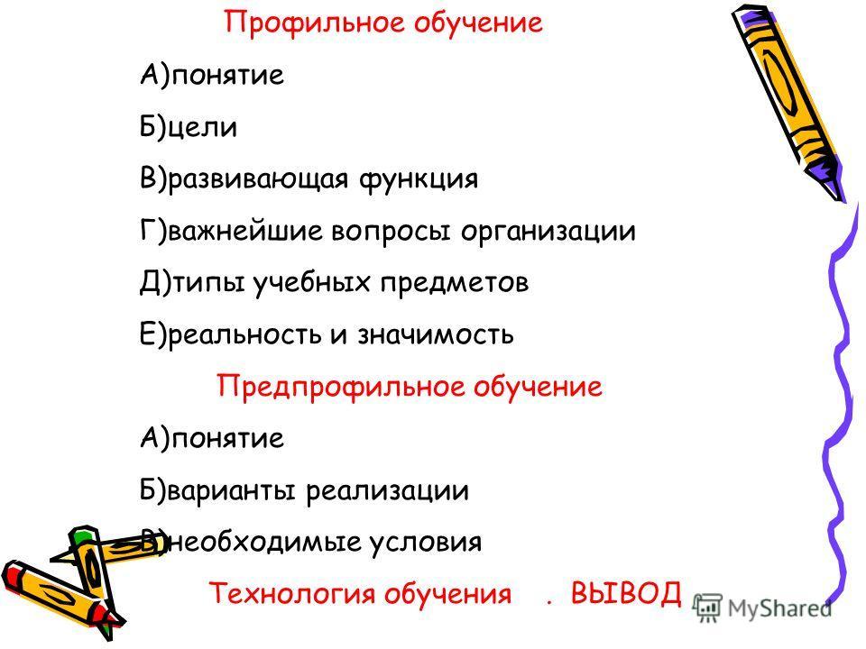 Профильное обучение А)понятие Б)цели В)развивающая функция Г)важнейшие вопросы организации Д)типы учебных предметов Е)реальность и значимость Предпрофильное обучение А)понятие Б)варианты реализации В)необходимые условия Технология обучения. ВЫВОД