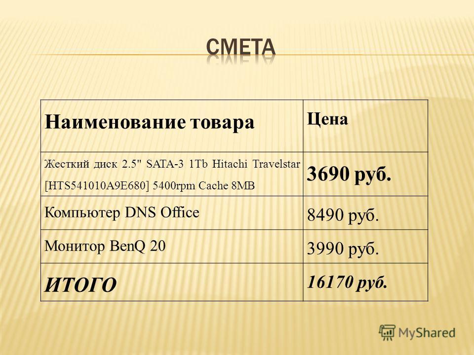 Наименование товара Цена Жесткий диск 2.5 SATA-3 1Tb Hitachi Travelstar [HTS541010A9E680] 5400rpm Cache 8MB 3690 руб. Компьютер DNS Office 8490 руб. Монитор BenQ 20 3990 руб. ИТОГО 16170 руб.