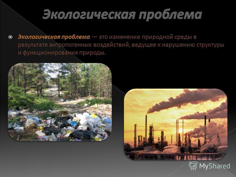 Экологическая проблема это изменение природной среды в результате антропогенных воздействий, ведущее к нарушению структуры и функционирования природы.