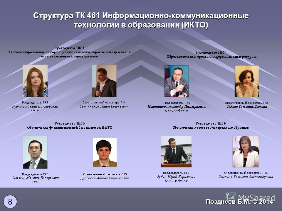 Структура ТК 461 Информационно-коммуникационные технологии в образовании (ИКТО) 8 Позднеев Б.М. © 2014