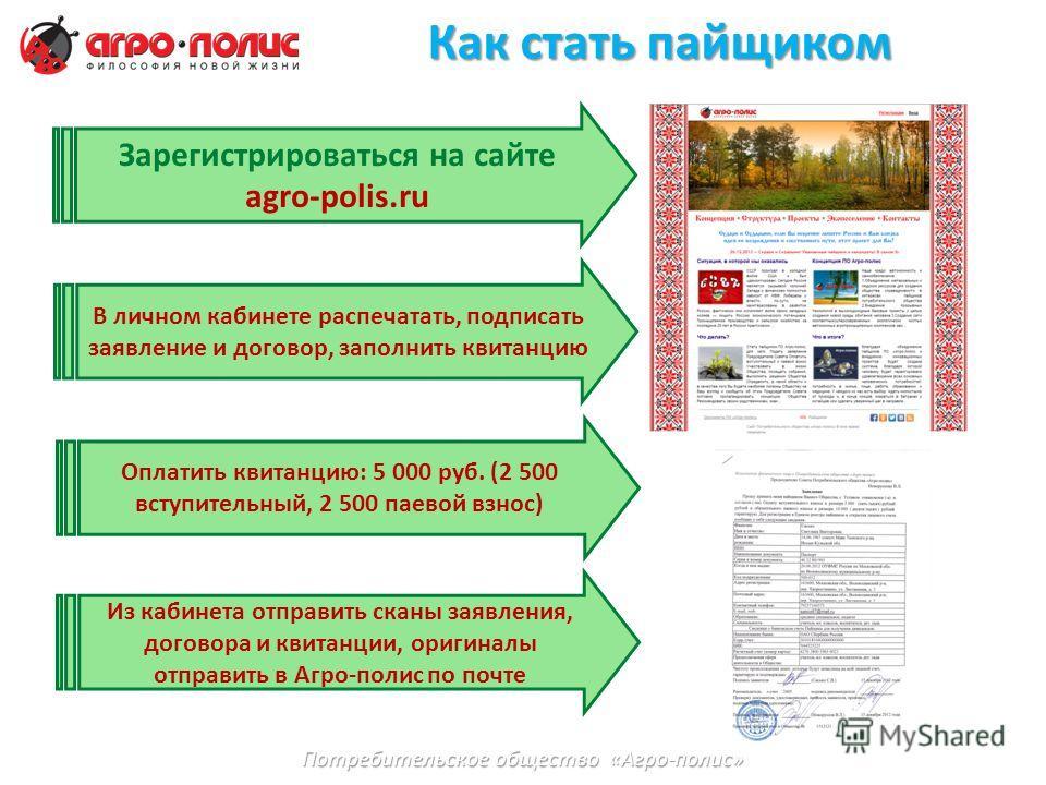Как стать пайщиком Зарегистрироваться на сайте agro-polis.ru В личном кабинете распечатать, подписать заявление и договор, заполнить квитанцию Потребительское общество «Агро-полис» Оплатить квитанцию: 5 000 руб. (2 500 вступительный, 2 500 паевой взн