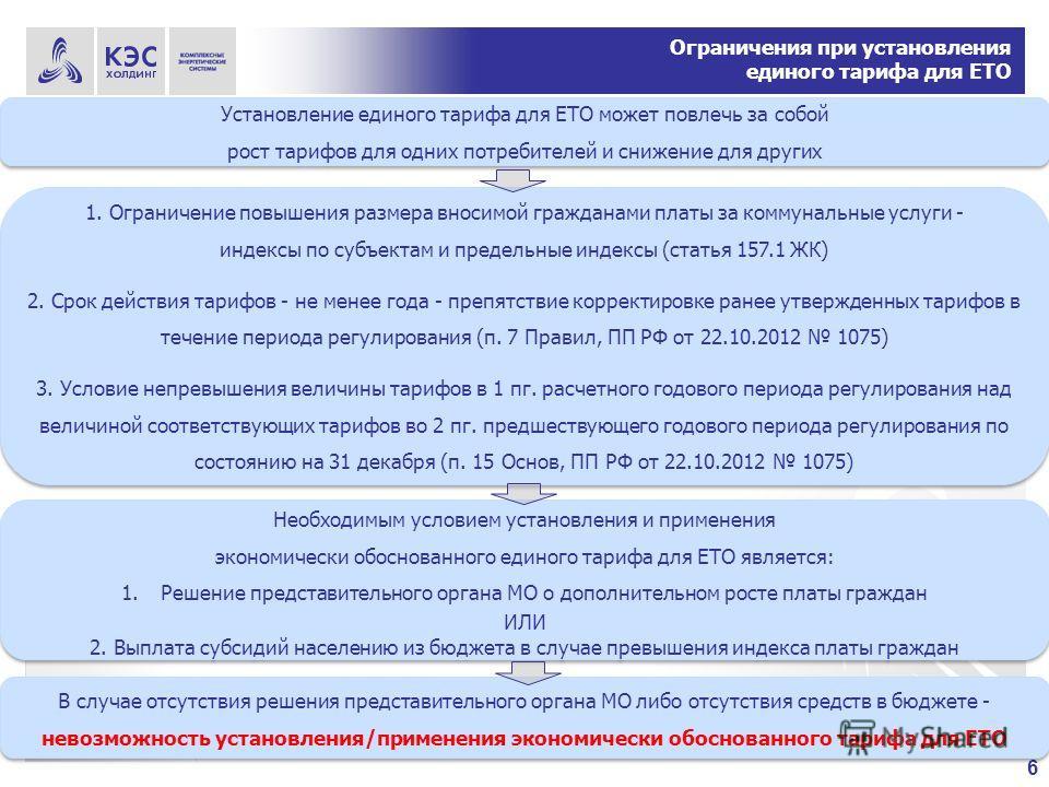 6 Ограничения при установления единого тарифа для ЕТО 1. Ограничение повышения размера вносимой гражданами платы за коммунальные услуги - индексы по субъектам и предельные индексы (статья 157.1 ЖК) 2. Срок действия тарифов - не менее года - препятств