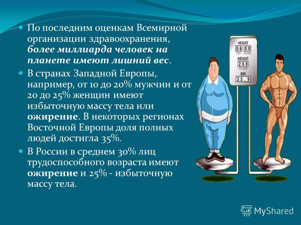 По последним оценкам Всемирной организации здравоохранения, более миллиарда человек на планете имеют лишний вес. В странах Западной Европы, например, от 10 до 20% мужчин и от 20 до 25% женщин имеют избыточную массу тела или ожирение. В некоторых реги