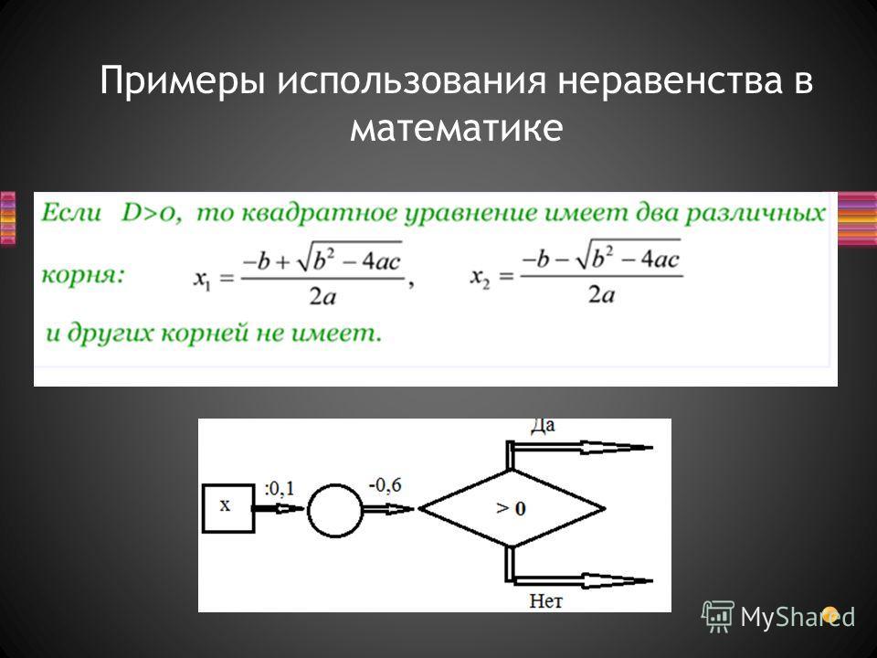 Примеры использования неравенства в математике