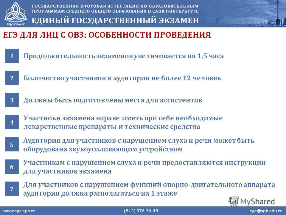 ЕГЭ ДЛЯ ЛИЦ С ОВЗ: ОСОБЕННОСТИ ПРОВЕДЕНИЯ Продолжительность экзаменов увеличивается на 1,5 часа 1 Количество участников в аудитории не более 12 человек 2 www.ege.spb.ru (812) 576-34-40 ege@spb.edu.ru Должны быть подготовлены места для ассистентов 3 У
