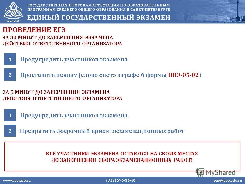 ПРОВЕДЕНИЕ ЕГЭ Предупредить участников экзамена 1 www.ege.spb.ru (812) 576-34-40 ege@spb.edu.ru Проставить неявку (слово «нет» в графе 6 формы ППЭ-05-02) 2 ЗА 30 МИНУТ ДО ЗАВЕРШЕНИЯ ЭКЗАМЕНА ДЕЙСТВИЯ ОТВЕТСТВЕННОГО ОРГАНИЗАТОРА Предупредить участнико