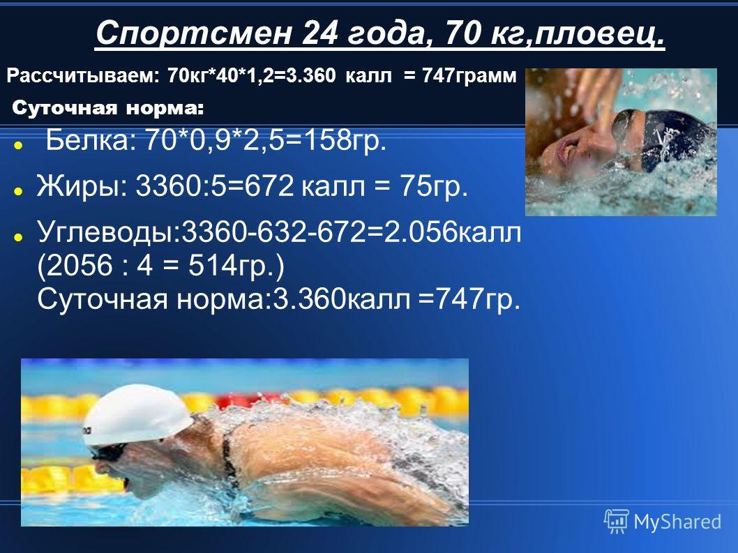 Спортсмен 24 года, 70 кг,пловец. Белка: 70*0,9*2,5=158гр. Жиры: 3360:5=672 калл = 75гр. Углеводы:3360-632-672=2.056калл (2056 : 4 = 514гр.) Суточная норма:3.360калл =747гр. Рассчитываем: 70кг*40*1,2=3.360 калл = 747грамм Суточная норма: