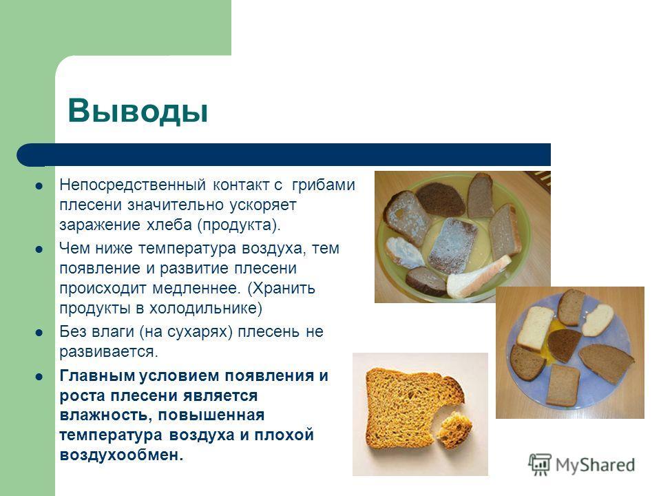 Выводы Непосредственный контакт с грибами плесени значительно ускоряет заражение хлеба (продукта). Чем ниже температура воздуха, тем появление и развитие плесени происходит медленнее. (Хранить продукты в холодильнике) Без влаги (на сухарях) плесень н