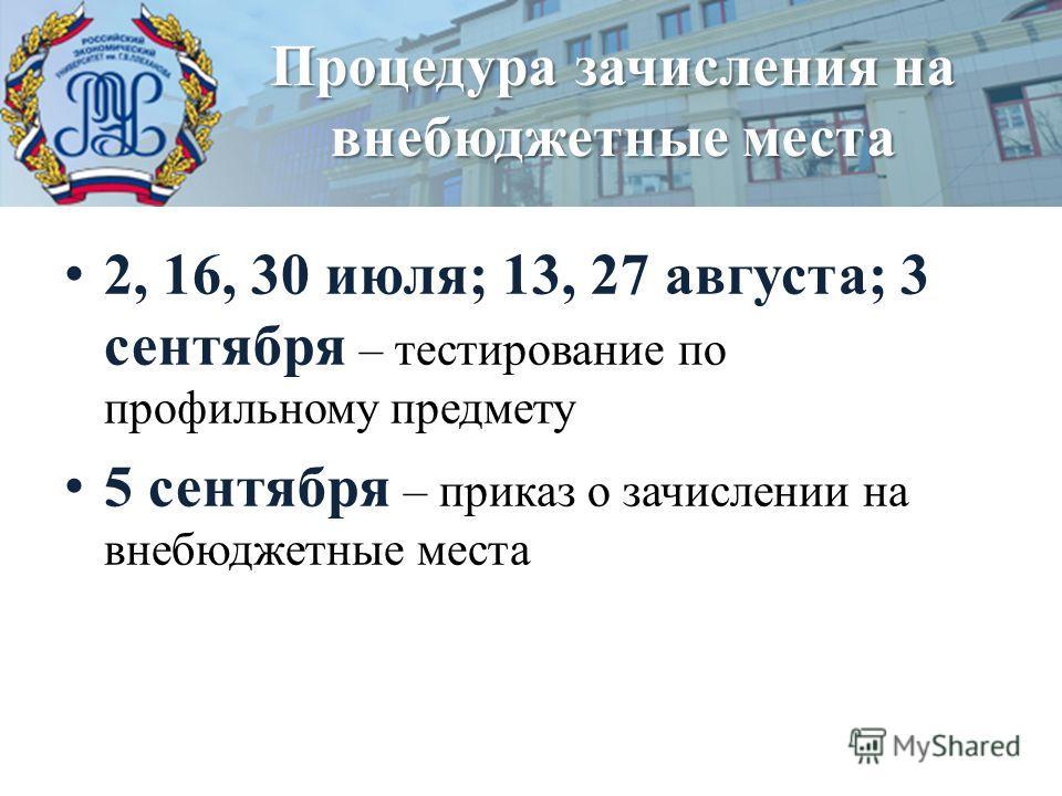 2, 16, 30 июля; 13, 27 августа; 3 сентября – тестирование по профильному предмету 5 сентября – приказ о зачислении на внебюджетные места Процедура зачисления на внебюджетные места