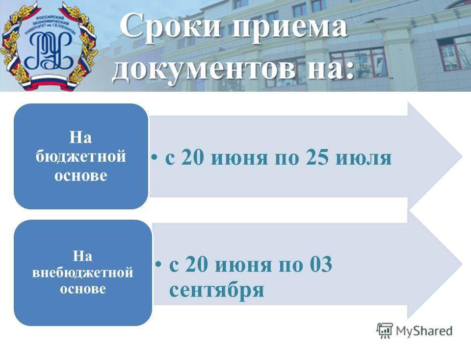 с 20 июня по 25 июля На бюджетной основе с 20 июня по 03 сентября На внебюджетной основе Сроки приема документов на: