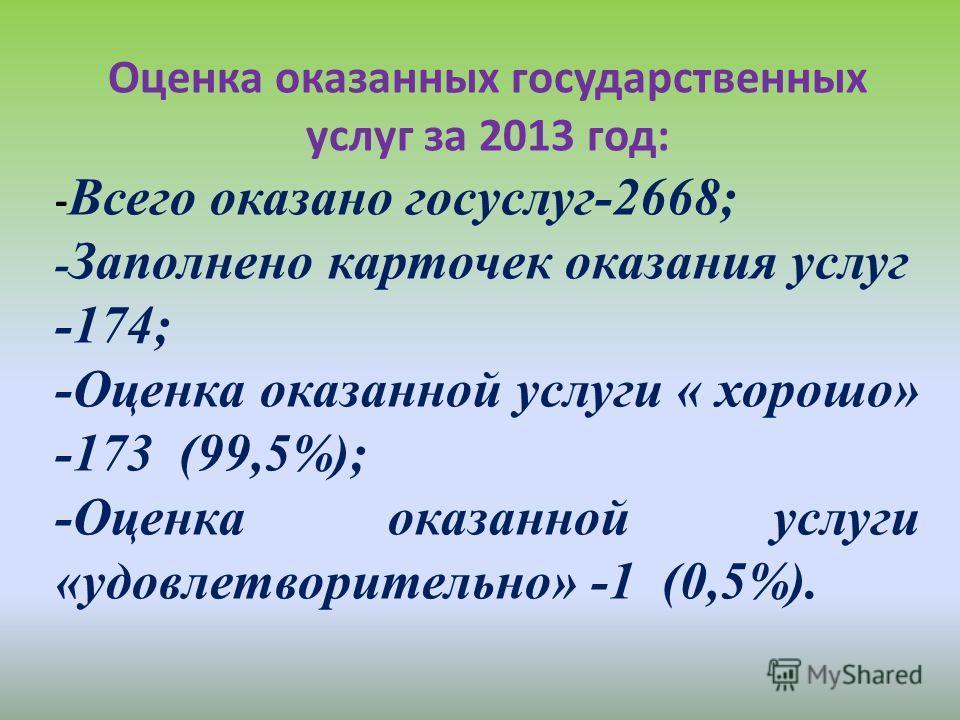 Оценка оказанных государственных услуг за 2013 год: - Всего оказано госуслуг-2668; - Заполнено карточек оказания услуг -174; -Оценка оказанной услуги « хорошо» -173 (99,5%); -Оценка оказанной услуги «удовлетворительно» -1 (0,5%).