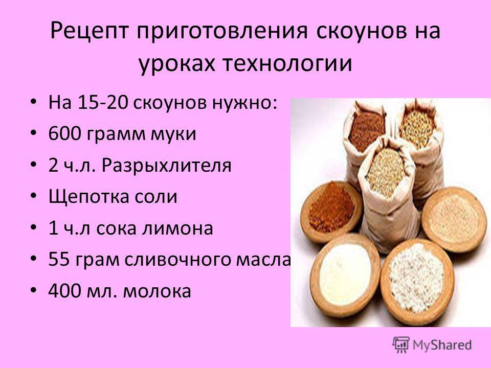 Рецепт приготовления скоунов на уроках технологии На 15-20 скоунов нужно: 600 грамм муки 2 ч.л. Разрыхлителя Щепотка соли 1 ч.л сока лимона 55 грам сливочного масла 400 мл. молока