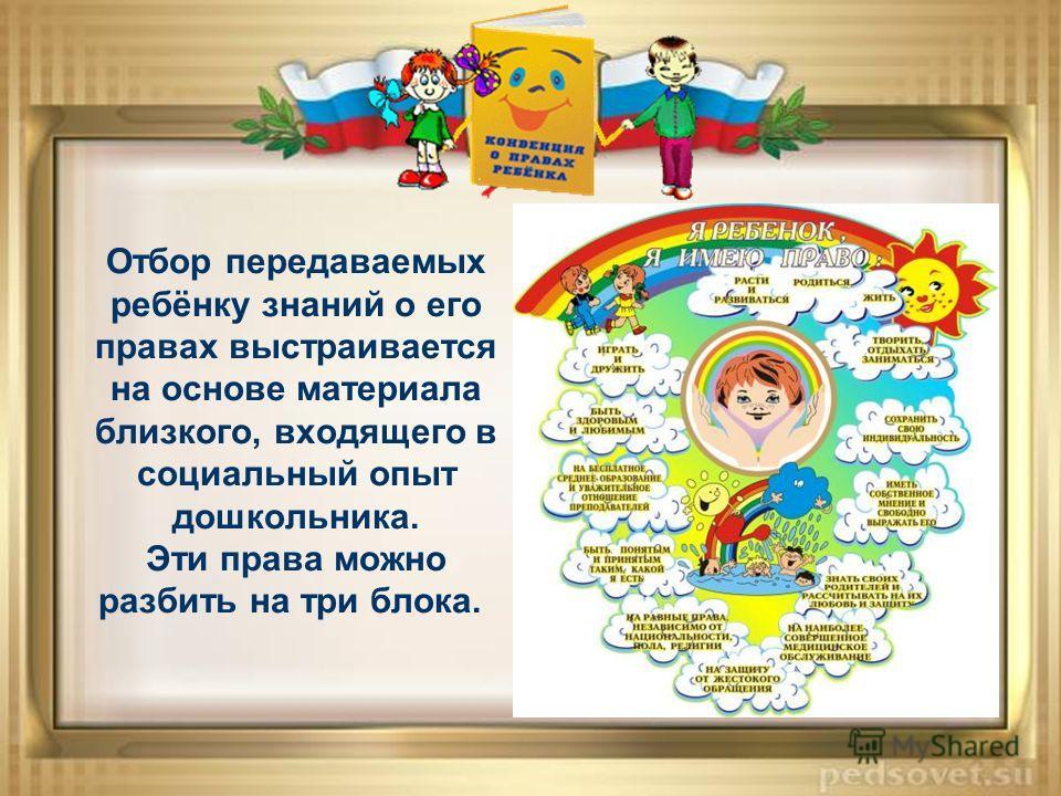 Отбор передаваемых ребёнку знаний о его правах выстраивается на основе материала близкого, входящего в социальный опыт дошкольника. Эти права можно разбить на три блока.