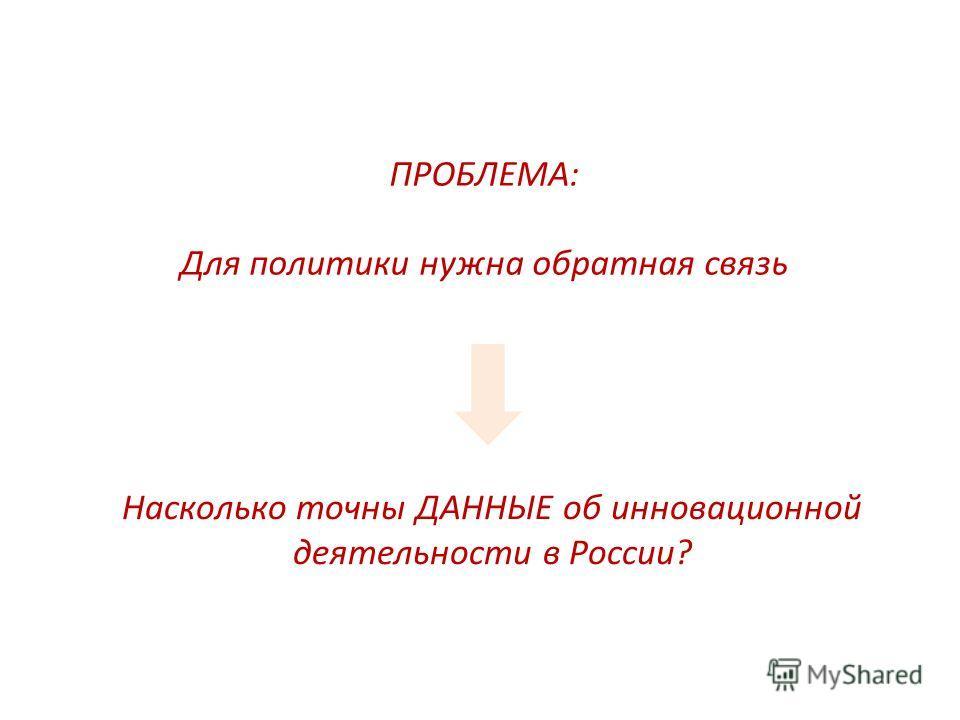 ПРОБЛЕМА: Для политики нужна обратная связь Насколько точны ДАННЫЕ об инновационной деятельности в России?