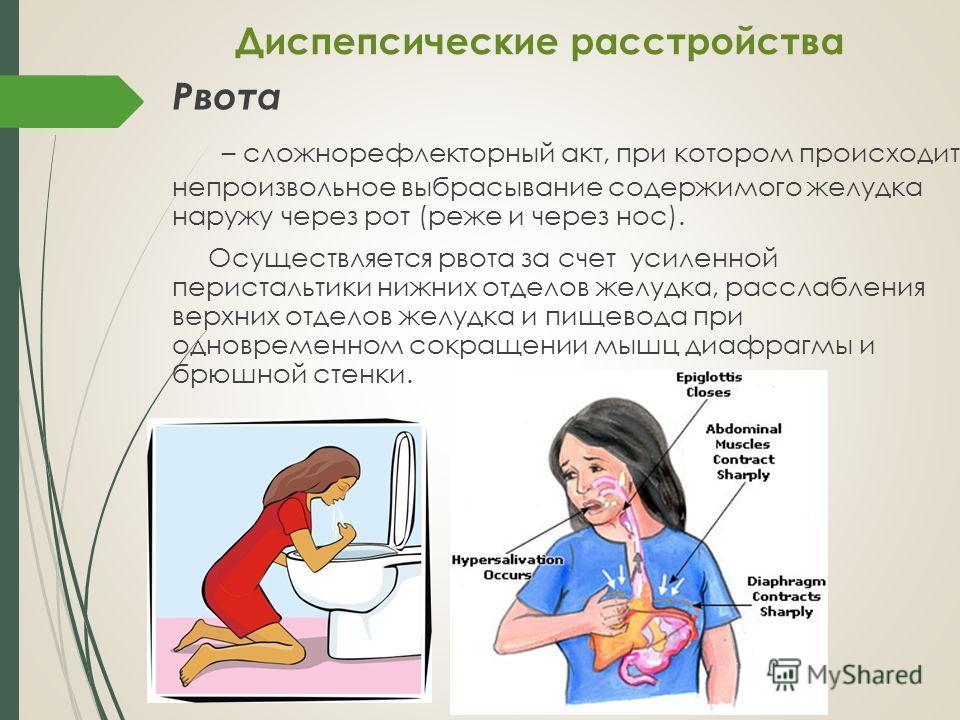 Рвота – сложнорефлекторный акт, при котором происходит непроизвольное выбрасывание содержимого желудка наружу через рот (реже и через нос). Осуществляется рвота за счет усиленной перистальтики нижних отделов желудка, расслабления верхних отделов желу
