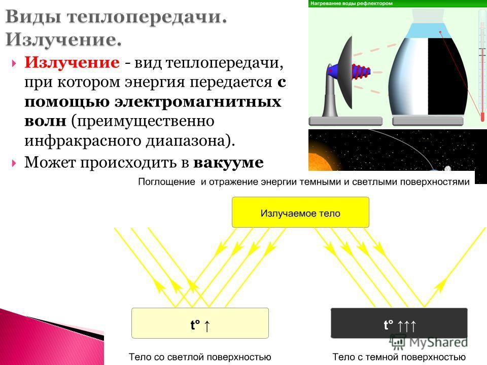 Излучение - вид теплопередачи, при котором энергия передается с помощью электромагнитных волн (преимущественно инфракрасного диапазона). Может происходить в вакууме