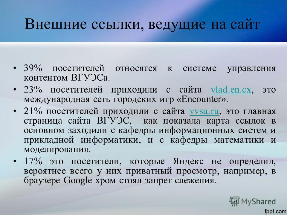 Внешние ссылки, ведущие на сайт 39% посетителей относятся к системе управления контентом ВГУЭСа. 23% посетителей приходили с сайта vlad.en.cx, это международная сеть городских игр «Encounter».vlad.en.cx 21% посетителей приходили с сайта vvsu.ru, это