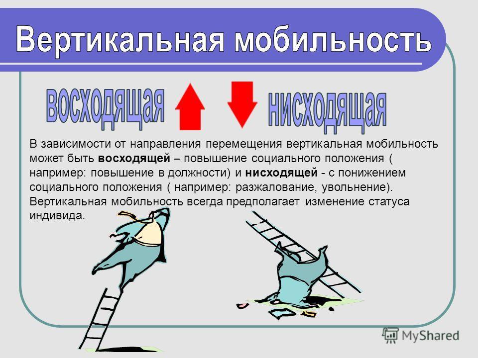В зависимости от направления перемещения вертикальная мобильность может быть восходящей – повышение социального положения ( например: повышение в должности) и нисходящей - с понижением социального положения ( например: разжалование, увольнение). Верт
