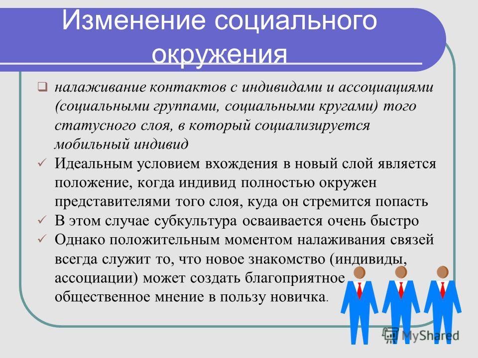 Изменение социального окружения налаживание контактов с индивидами и ассоциациями (социальными группами, социальными кругами) того статусного слоя, в который социализируется мобильный индивид Идеальным условием вхождения в новый слой является положен