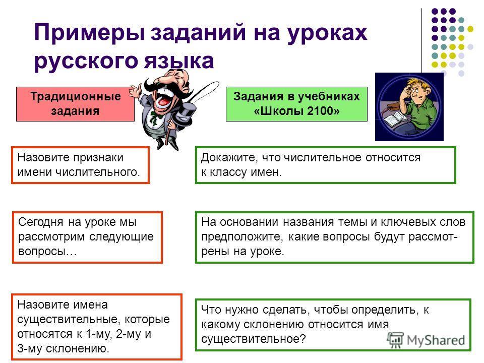 Примеры заданий на уроках русского языка Традиционные задания Задания в учебниках «Школы 2100» Докажите, что числительное относится к классу имен. На основании названия темы и ключевых слов предположите, какие вопросы будут рассмот- рены на уроке. Се