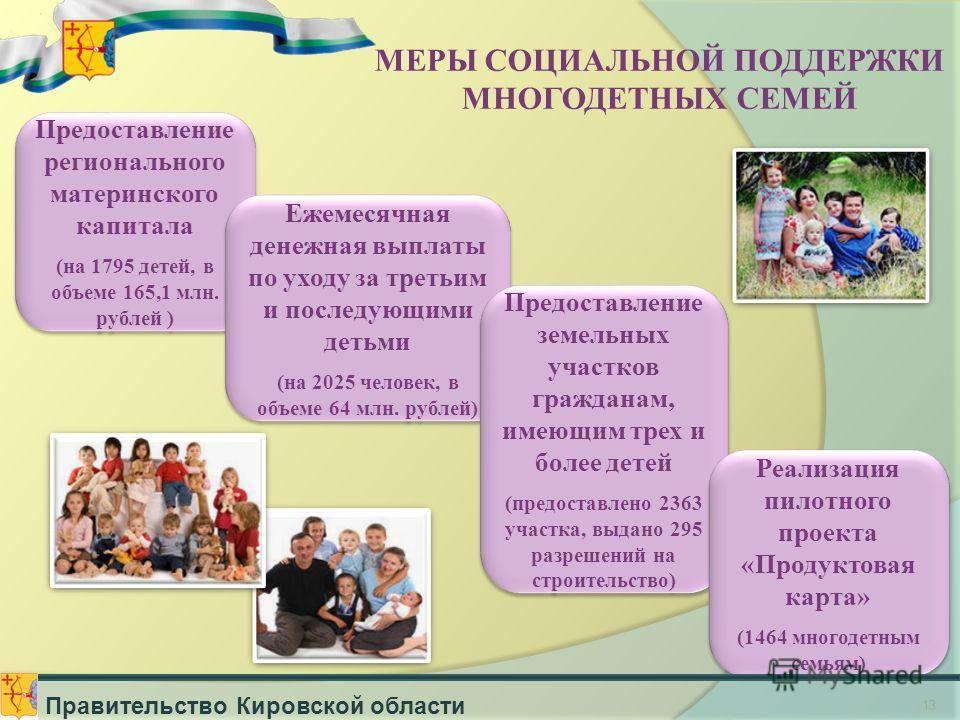 13 Предоставление регионального материнского капитала (на 1795 детей, в объеме 165,1 млн. рублей ) Предоставление регионального материнского капитала (на 1795 детей, в объеме 165,1 млн. рублей ) Ежемесячная денежная выплаты по уходу за третьим и посл