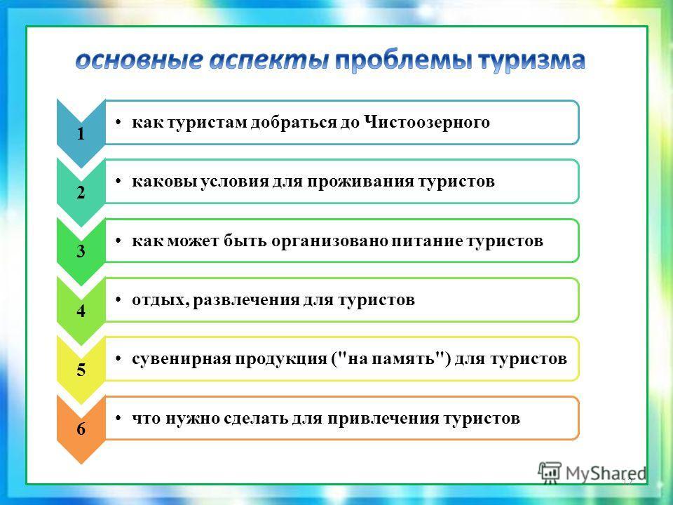 основные аспекты проблемы туризма 1 как туристам добраться до Чистоозерного 2 каковы условия для проживания туристов 3 как может быть организовано питание туристов 4 отдых, развлечения для туристов 5 сувенирная продукция (
