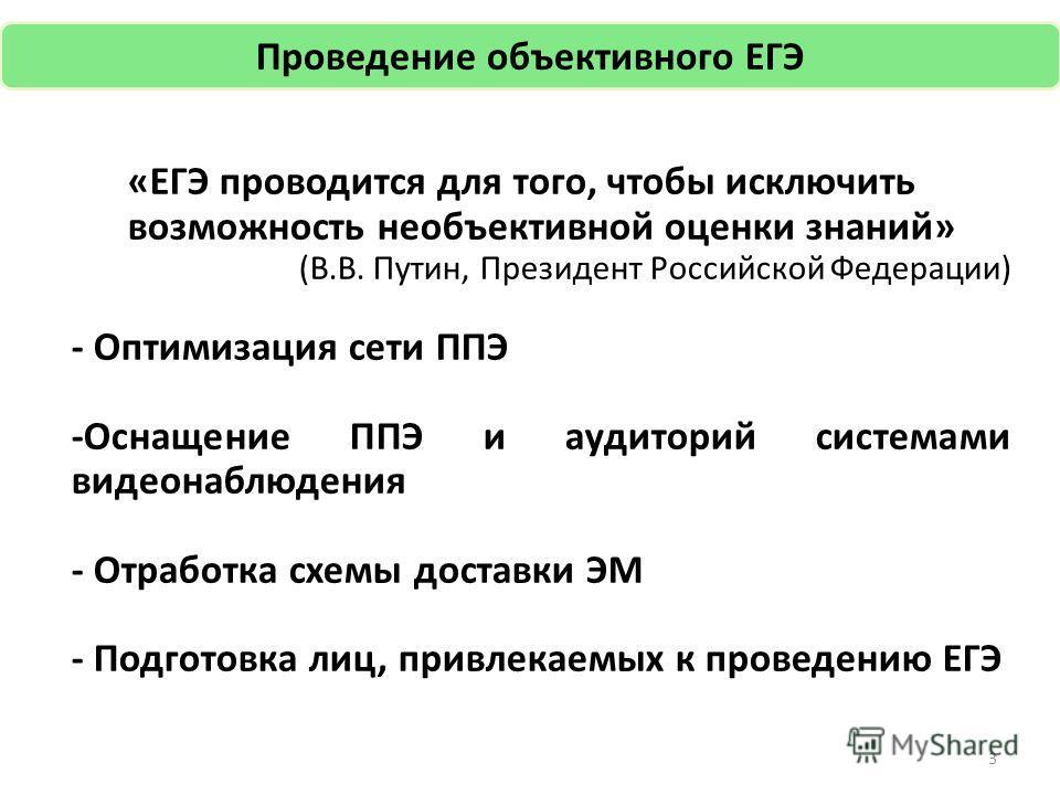 «ЕГЭ проводится для того, чтобы исключить возможность необъективной оценки знаний» (В.В. Путин, Президент Российской Федерации) - Оптимизация сети ППЭ -Оснащение ППЭ и аудиторий системами видеонаблюдения - Отработка схемы доставки ЭМ - Подготовка лиц