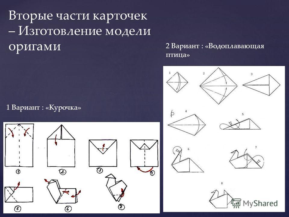 1 Вариант : «Курочка» 2 Вариант : «Водоплавающая птица» Вторые части карточек – Изготовление модели оригами