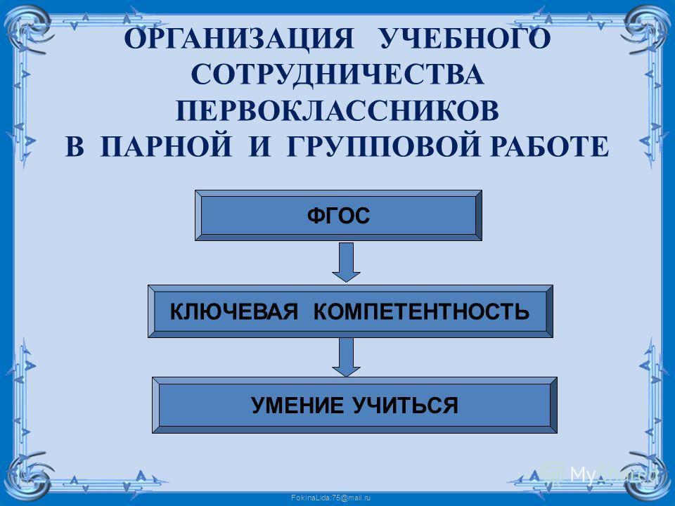 FokinaLida.75@mail.ru ОРГАНИЗАЦИЯ УЧЕБНОГО СОТРУДНИЧЕСТВА ПЕРВОКЛАССНИКОВ В ПАРНОЙ И ГРУППОВОЙ РАБОТЕ ФГОС КЛЮЧЕВАЯ КОМПЕТЕНТНОСТЬ УМЕНИЕ УЧИТЬСЯ