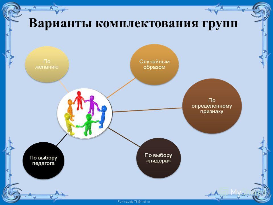 FokinaLida.75@mail.ru Варианты комплектования групп
