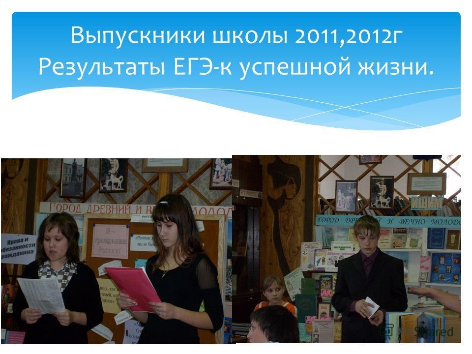 Выпускники школы 2011,2012г Результаты ЕГЭ-к успешной жизни.