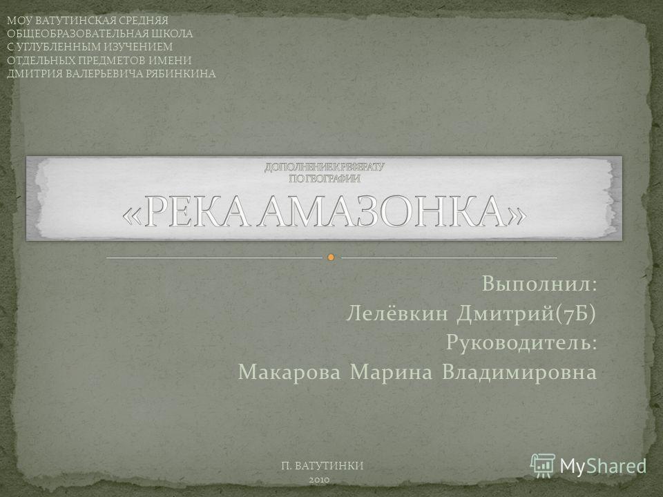 Выполнил: Лелёвкин Дмитрий(7Б) Руководитель: Макарова Марина Владимировна МОУ ВАТУТИНСКАЯ СРЕДНЯЯ ОБЩЕОБРАЗОВАТЕЛЬНАЯ ШКОЛА С УГЛУБЛЕННЫМ ИЗУЧЕНИЕМ ОТДЕЛЬНЫХ ПРЕДМЕТОВ ИМЕНИ ДМИТРИЯ ВАЛЕРЬЕВИЧА РЯБИНКИНА П. ВАТУТИНКИ 2010