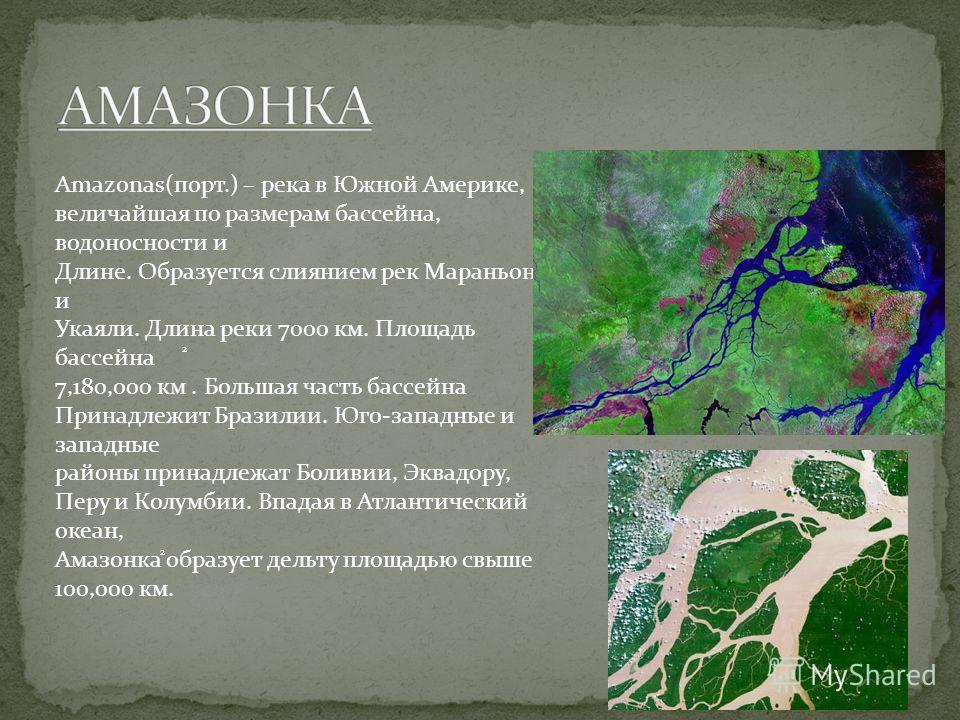 Amazonas(порт.) – река в Южной Америке, величайшая по размерам бассейна, водоносности и Длине. Образуется слиянием рек Мараньон и Укаяли. Длина реки 7000 км. Площадь бассейна 7,180,000 км. Большая часть бассейна Принадлежит Бразилии. Юго-западные и з