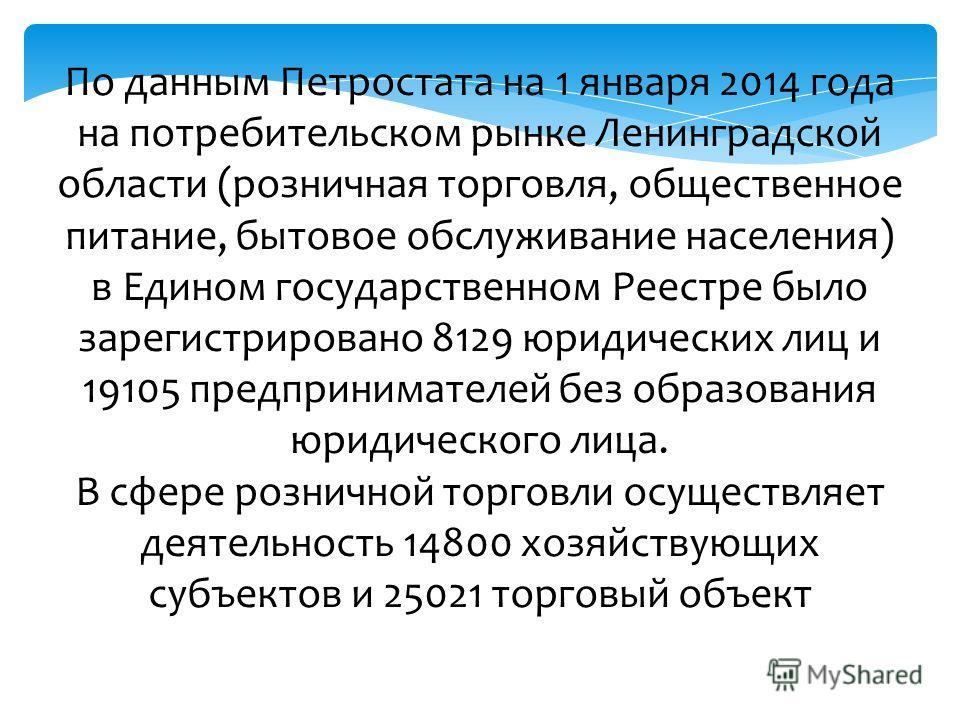 По данным Петростата на 1 января 2014 года на потребительском рынке Ленинградской области (розничная торговля, общественное питание, бытовое обслуживание населения) в Едином государственном Реестре было зарегистрировано 8129 юридических лиц и 19105 п