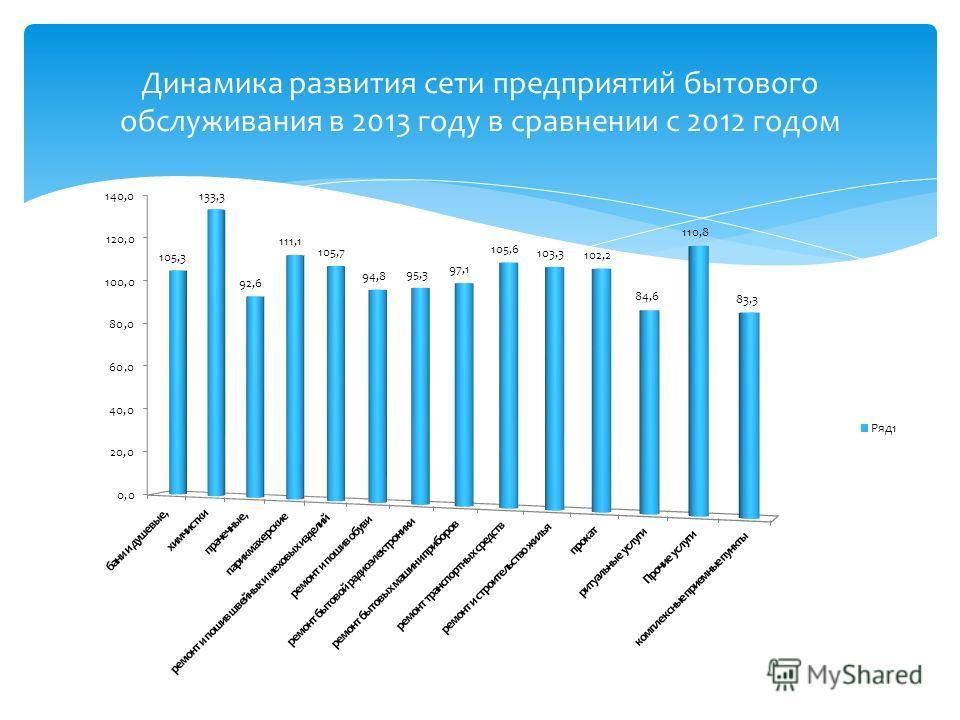 Динамика развития сети предприятий бытового обслуживания в 2013 году в сравнении с 2012 годом